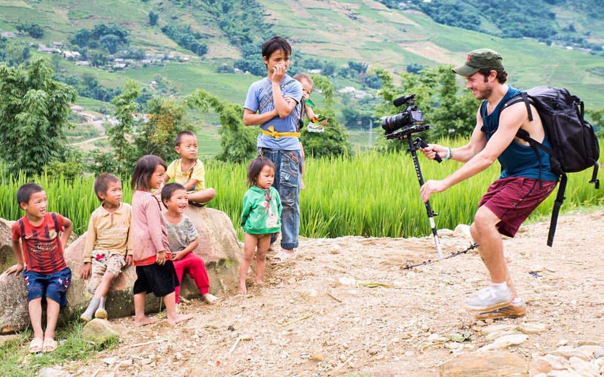 Alex Hennessy in action, filming in Sapa, Vietnam. Photo: Global Degree