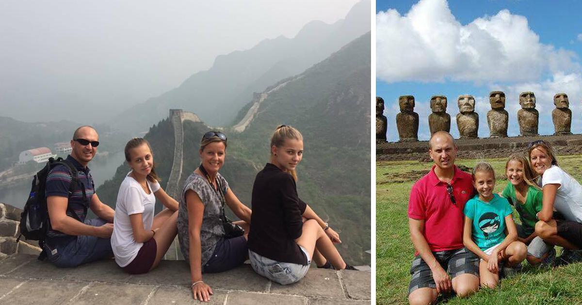Familjen bor i Shanghai men reser mycket – som till exempel till kinesiska muren.