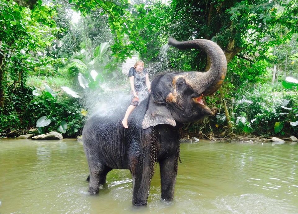 Volontärarbetade med elefanter i Sri Lanka. Här ger Rani mig ett morgonbad. Foto: Josefine Nilsson