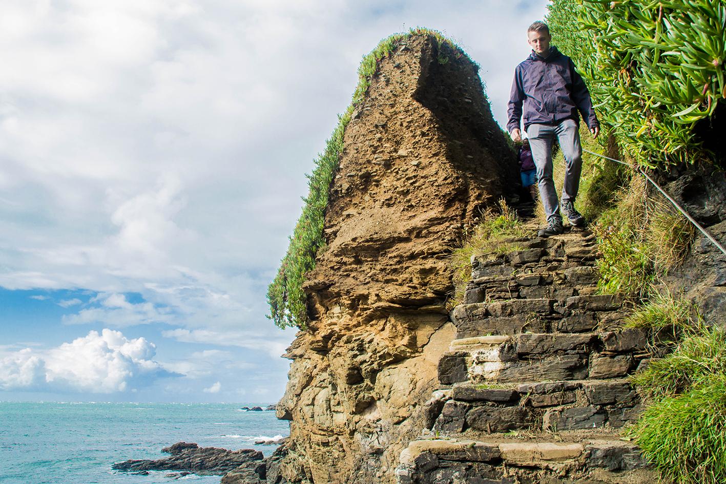 """Vi följde ett par trappor ner till en """"hemlig strand""""."""